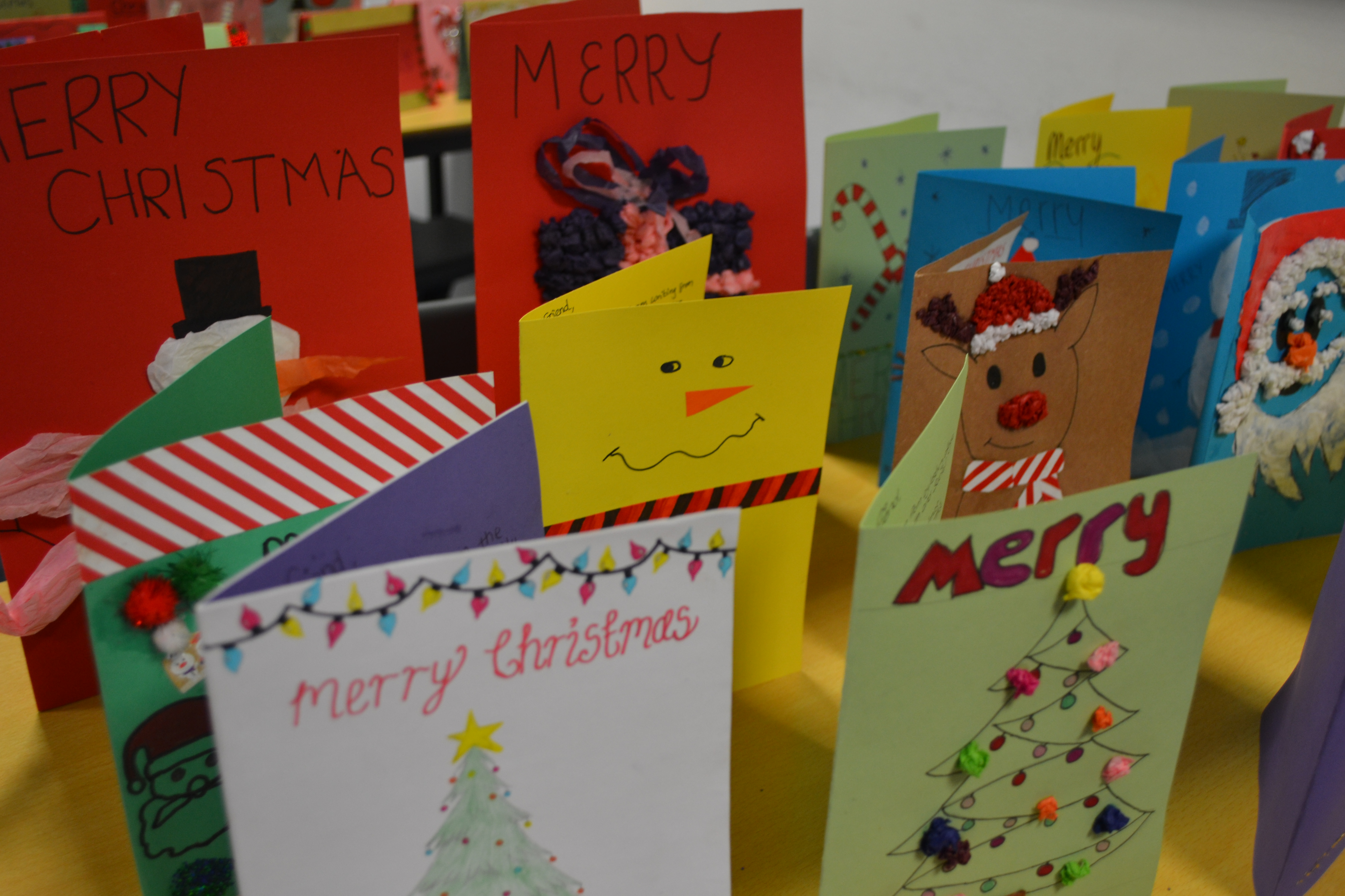 A selection of the students' Christmas cards